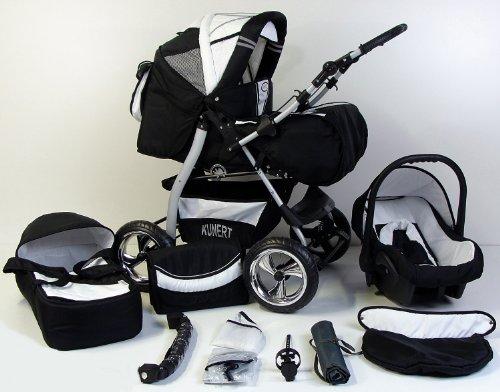 3 in 1 Kombikinderwagen Komplettset VIP - inkl. Kinderwagen, Babyschale und Sportwagen Aufsatz - 4. Grau Hartgummi Bereifung - 19. Schwarz-Weis