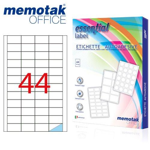 Packung mit 100Blatt A4Etiketten Aufkleber memotak Format in Millimeter 47.5x 25.54400Etiketten für Behälter