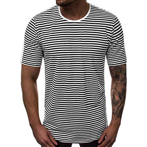 Nyuiuo Sommer Männer Casual T-Shirt Sommermode Casual Striped Printing O-Kragen Kurzarm T-Shirt Rundhals Kurzarm Sea Spirit Shirt Gestreiftes Baumwoll-T-Shirt -