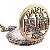 Artvarko Classic Vintage Paris Metal Pocket Watch Clock | Pendant | Locket Chain