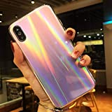 JHLD Compatible IPhone X Pente Placage Laser Aurore Verre Mobile Téléphone Coquille...