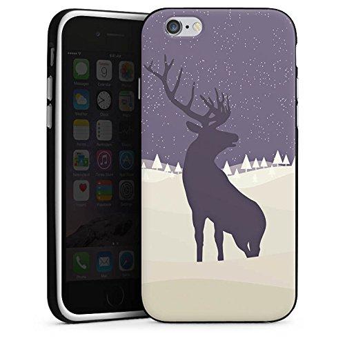 Apple iPhone X Silikon Hülle Case Schutzhülle Hirsch Schnee Winter Silikon Case schwarz / weiß