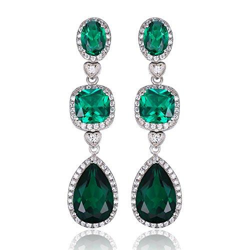 JewelryPalace Pendientes largo adornado Nano rusa imitado esmeralda en plata de ley 925