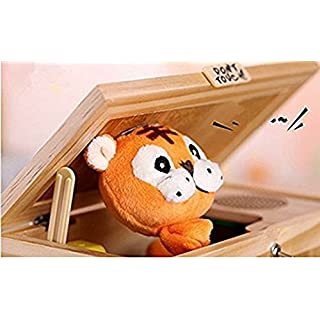 Starworld Funny Tiger Useless Box, Don't Touch Musical Box Wooden Gag Toys