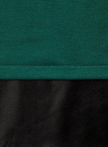 oodji Ultra Damen Kleid mit Kunstleder-Verzierung Grün (6E29B)