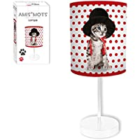 Lámpara, modelo de gato con sombrero, 32 CM, diseño de lunares rojos