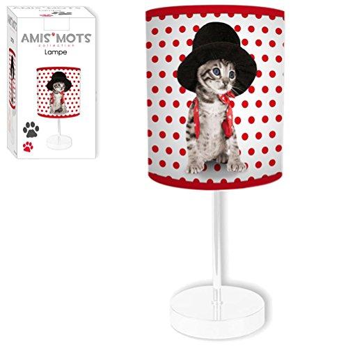Lampe Chat Chapeau Pois Rouges Hauteur 32 CM