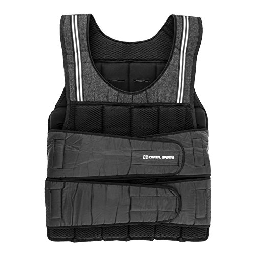 CapitalSports Vestpro 20 Chaleco de Peso lastrado (Weightvest 20 kg, 38 Pesas de Caucho Suave, Entrenamiento en casa, Comodo Resistente)