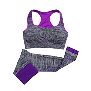 VADOOLL Damen Frauen Yoga Fitness Nahtlose BH + Hosen Leggings Set Gym Workout Sportbekleidung