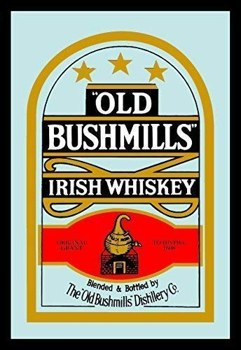 Old Bushmills Irish Whiskey Whisky Nostalgie Barspiegel Spiegel Bar Mirror 22 x 32 cm -