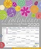Multiplaner - Colour your time 2020: Familienplaner, 7 breite Spalten. Großer Familienkalender mit Ferienterminen, extra Spalte, Vorschau für 2021 und Datumsschieber. Format: 40x47 cm -