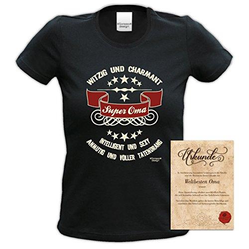 bequemes T-Shirt für Omi, Sprüche Motiv Super Oma Geschenkidee, Muttertag Geburtstagsgeschenk Frauen Damen Farbe: schwarz Schwarz