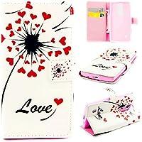 TKSHOP Case Cover per LG Leon H340N /H345 / C40 / C50 Custodia PU pelle Funzione di Sostegno Stand con la Copertura del Raccoglitore per la Carte Chiusura Magnetica+ Penne Capacitive Stylus penna Rose per dispositivi touchscreen - Cuore Rosso Love