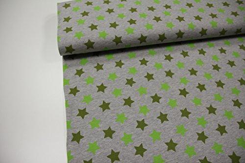 Stoff / 50cmx140cm / Kinder / beste Jersey-Qualität / Jersey / Sommer-Sweat Sterne grün/oliv auf grau meliert