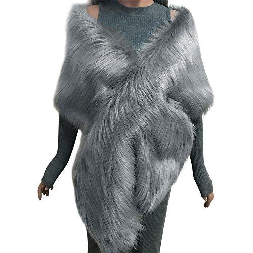 Samber Estolas para Fiestas Mujer de Pelo Sintético Chales de Invierno y Otoño Decoración para Vestidos (Gris)