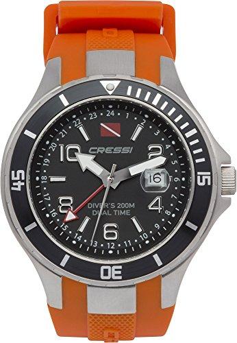 Cressi Traveller Dual Time RelojSubmarino, Unisex Adulto, Plata / Negro / Naranja, Talla Única