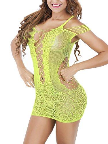 FasiCat Lingerie donna Chemise Mini costume Negligrees BabyDoll senza spalline per indumenti da notte Prime giallo