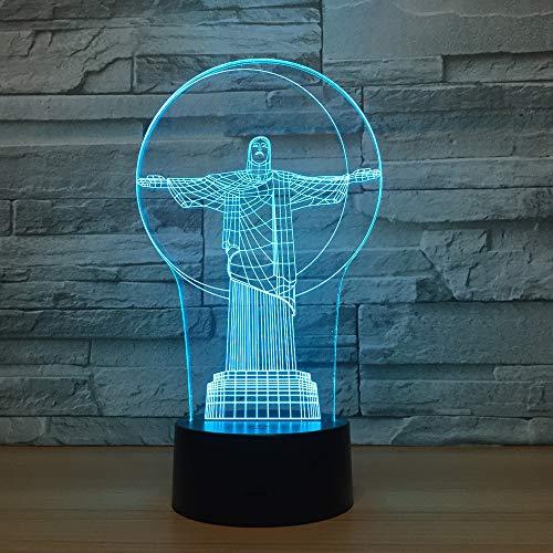 3D Nachtlicht Led Nachtlicht 7 Farbwechsel Lampe Acryl Hologramm Brasilien Illusion Schreibtischlampe Geschenk Dekoration Beleuchtung für Kinder und Freunde,Remote and touch