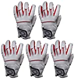 Pack of 5 100% Cabretta Leather Golf Gloves Mizuno Style With Logo Size S, M, ML, L, XL Red & White