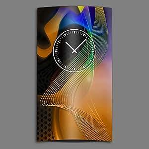 Vertical design en acier inoxydable motif horloges design horloge murale moderne 28 cm x 48 cm, silence sans tic-tac dIXTIME 3D - 0150