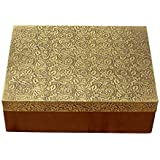 ORGANIC NOTES N MORE - Ethnic Wooden Box With Brass Work 8X6X3''