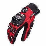 Tracffy Gants en Plein Air de Moto Plein-Doigt Motorbiker Gants de Protection pour Motocross Hors Route Courses Vélo Skiing VTT Escalade Randonnée (L, rouge)