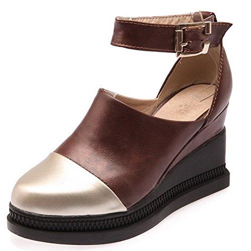 Farbe Absatz Zehe Schuhe Rund Allhqfashion Hoher Braun Gemischte Damen Schnalle Pumps qBFSWPEIw