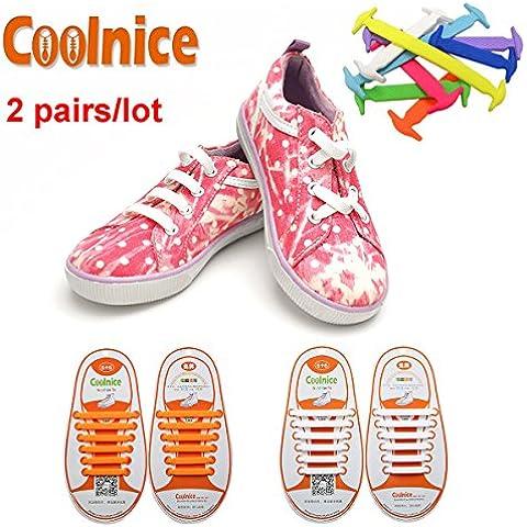 Coolnice® 2 pares para Niños cordones elásticos planos zapatillas de silicona impermeable ambientalmente seguro Limpiar DIY divertido 2 Color 2 X
