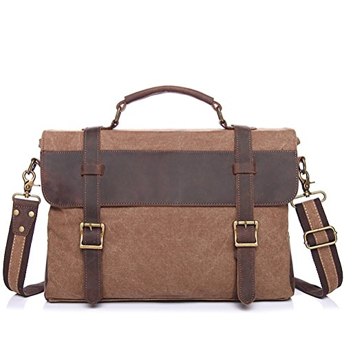 Patchwork Aktentasche Männer Crazy Horse Leder & Canvas Vintage Computer Handtasche Business Messenger Bag männlichen Laptop Case
