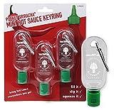 Mini Sriracha Taschen Flasche - Hot Chili Sauce Schlüsselanhänger - Deine Heiße Soße Für Unterwegs - 3 PACK (ohne Inhalt) – 35 ML Kapazität - Für Reisen Wandern Ausflug Camping Feier Party Büro