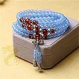 LEIGAGA 6mm Calcedonio Blu Naturale e Onice Rosso 108 Preghiera Mala Buddista Energia Pietra Lunga Bracciale o Collana Moda Donna Gioielli