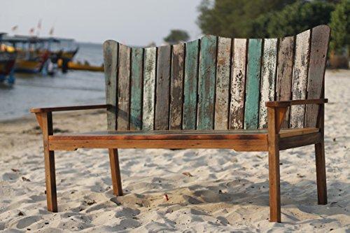 Outflexx 3-Sitzer Gartenbank aus recyceltem Fischerbootholz mit Armlehnen, Braun, 150 x 75 x 110 cm
