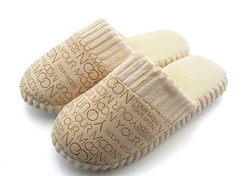 Minetom Coppia Pantofole Peluche Coral Fleece Pantofole Coppia Lettere Pantofola EUROPE Taglia Beige