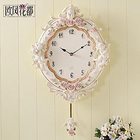Vent Européen Garden Birds, Séjour Créatif Coréen Muet Horloge Murale Horloge Murale Ronde Chambre Minimaliste Moderne Watch