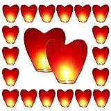 20 x linternas de cielo respetuoso del medio ambiente del corazón rojo para la Navidad, Año Nuevo, Año Nuevo chino, Nochevieja, Bodas y fiestas