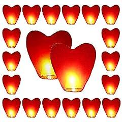 Idea Regalo - MYSWEETY 20 lanterne ecologiche Sky Red Heart per Natale, Capodanno, Capodanno cinese, Capodanno, Matrimoni e feste