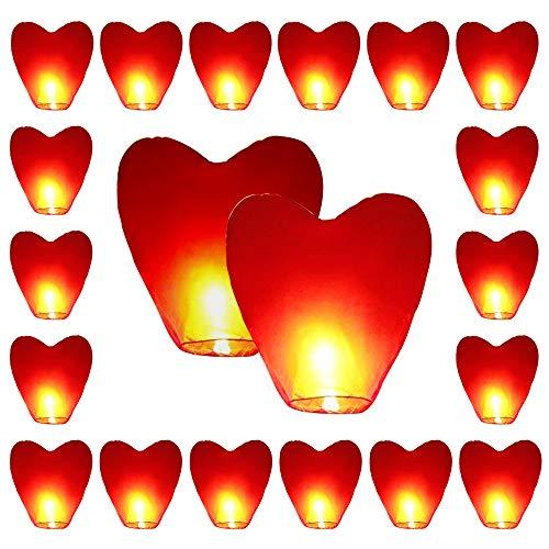 20 x linternas cielo respetuoso medio ambiente corazón