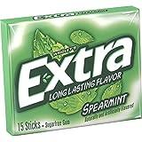 Wrigley's Extra Spearmint 15 Sticks Sugar Free Gum, (Pack of 2)