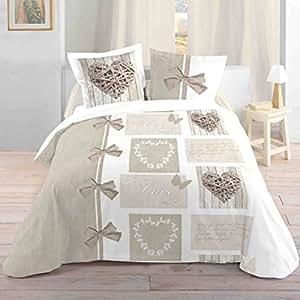 lovely casa housse de couette coton blanc 240x220 cm cuisine maison. Black Bedroom Furniture Sets. Home Design Ideas