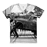 T-Shirt with Two men are carrying a car.. . people men damaged pushcart retro black and white outdoors road physical strength