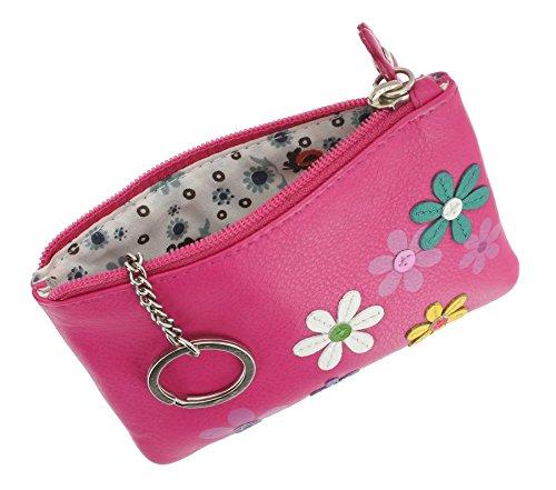 Portamonete Mala Leather con porta chiavi. Collezione CARA Porpora Rosa