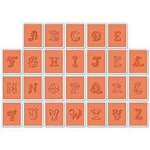 Sizzix Textured Impressions Embossing Folders 26PK - Set di fustelle per decorazioni in rilievo con lettere alfabeto, 26 pezzi, multicolore