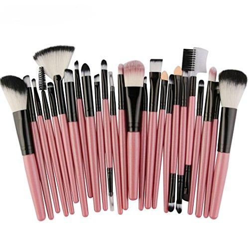 Kit De Pinceau Maquillage,Fulltime 25PCS Professionnel Pinceaux Maquillage pour Sourcils Fard à Paupières Blush Cosmétique Brosses (Rose)