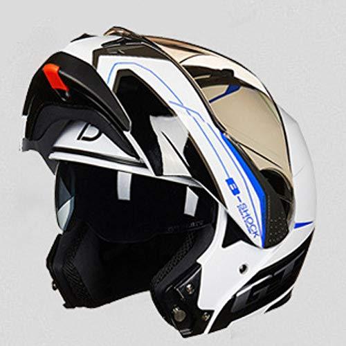 CPDZ Hochwertiges Bluetooth-Motorrad-Helm extrem langlebig Motorrad-Helm Dual-Objektiv universellen Erwachsenen Helm für Männer und Frauen,Blue,M