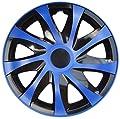 PROMO 4 X Radabdeckungen Radkappensatz in 14 ZOLL Schwarz-Blau Farbe DRACO CS Radkappen