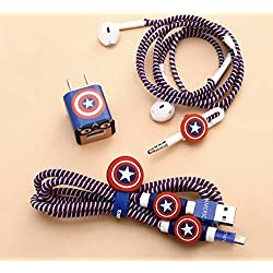 Skudgear COMBO PACK 5-in-1 Spiral Wire Cable Protector + Cable Organizer + Cable Wrap/ Cable Protector + Earphones Organizer/Protector + Sticker - Captain America