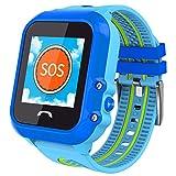 Smartwatches Für Jungen Mädchen Bluetooth Telefonuhren Mit GPS Tracker AGPS + LBS Ort Mit SOS Wecker Kamera App Kontrolle Durch Eltern Kompatibel Mit Iphone / Android Bestes Geschenk Für Kinder,Blue