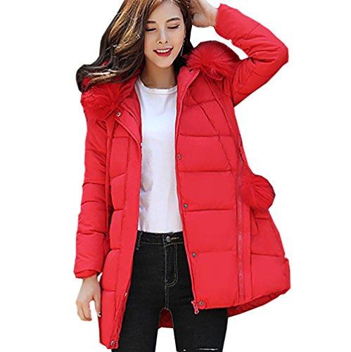 Hoodie Damen Sunday Frauen Reißverschluss Tasche Dicker Winter Schlank Unten Lammy Jacke Haarkragen Einfarbig Mantel (Rot, M) (Unten Tasche)