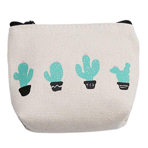 Chinget Damen Mädchen Niedlich Kaktus Muster Geldbörse Geldtasche Canvas Geldbeutel Münzen Beutel Portmonee (Stil 2) (Geldbörse Muster Niedliche)