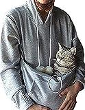 Ruiying Sudadera con capucha de las señoras del gato del animal doméstico del bolsillo canguro - oreja de gato del bolsillo de la camiseta-Mantener a su gato y perro (S, gris)